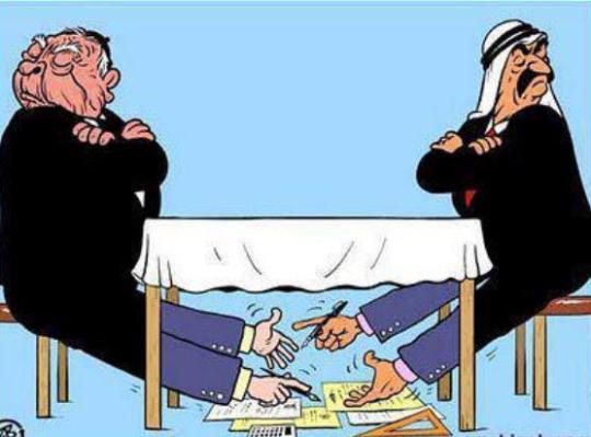كاريكاتير رسم بعد حرب غزة 2008 عن االعلاقات العربية الصهيونيةنفس العلاقة بين قيادات الاخوان والمعارضة